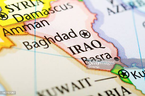 map of the country iraq in red - iraq stock pictures, royalty-free photos & images