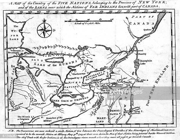 1723 A map of the country of the Five Nations or Iroquois now belonging to the province of New York as well as part of Canada and Lakes Huron...