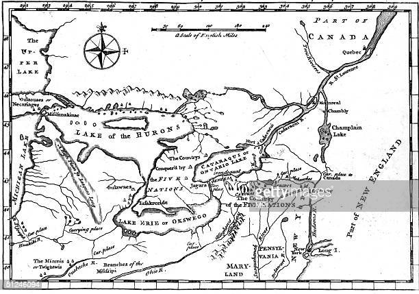 A map of the country of the Five Nations or Iroquois now belonging to the province of New York as well as part of Canada and Lakes Huron Michigan...