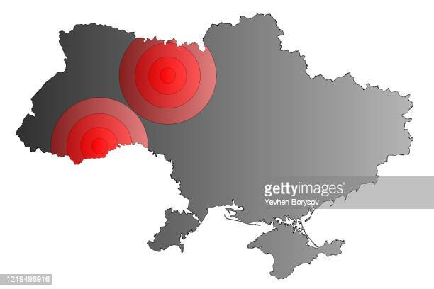 map of the distribution of coronavirus in ukraine - ukraine stock pictures, royalty-free photos & images