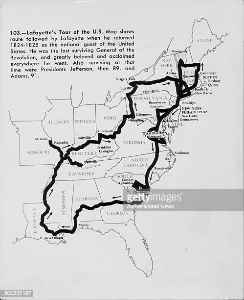 A map of the east coast of the United States highlighting the route taken by the Marquis de Lafayette circa 18241825