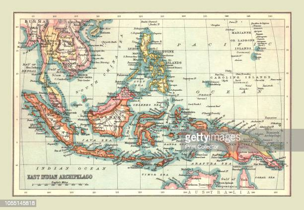 Map of the East Indian Archipelago 1902 Showing Java Sumatra Borneo Siam The Philippines Papua New Guinea and the South China Sea From The Century...