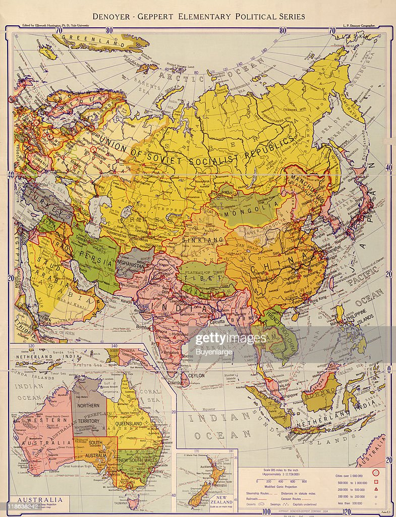 Map of the Eastern Hemisphere , with inset maps of Australia and New ...