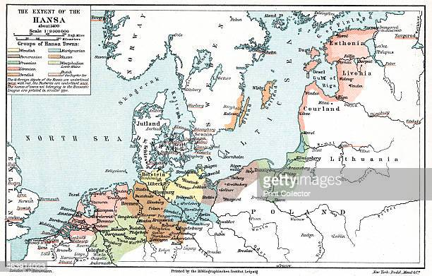 Map of the extent of the Hanseatic League in about 1400 The Hanseatic League was an alliance of about 100 north German towns and trading interests...
