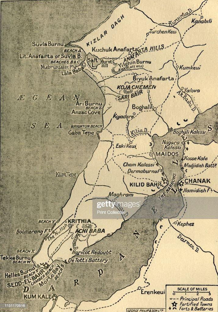 Cartina Geografica Italia Gallipoli.Map Of The Gallipoli Peninsula 1919 The Gallipoli Peninsula In Foto Di Attualita Getty Images