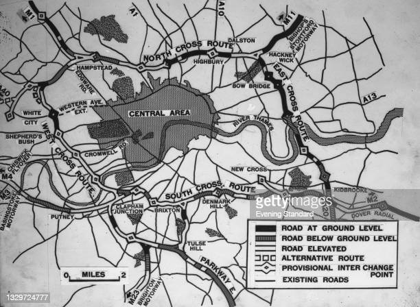 Map of the GLC plan for London Ringway 1, linking Hampstead, Hackney, Kidbrooke, Clapham Junction and White City in London, UK, 8th April 1965. Only...