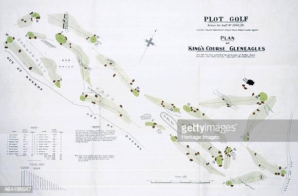 Map of the Gleneagles golf course British c1920s