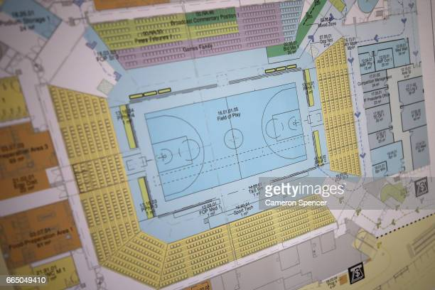 A map of the Gold Coast Convention and Exhibition Centre venue of the 2018 Commonwealth Games Main Press Centre basketball finals and preliminary...