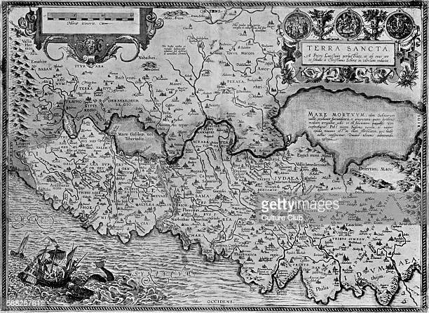 Map of the Holy Land in Theatrum Orbis Tearrarum by Ortelius 16th century