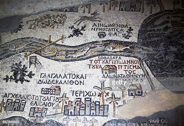 Map of the Holy Land mosaic depicting the itinerary leading to Jerusalem via more than 150 Bible locations and sites in the Middle East detail...