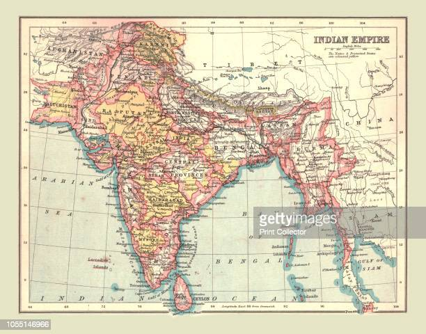 Map of the Indian Empire 1902 Showing the Indian subcontinent during the period of the British Raj From The Century Atlas of the World [John Walker...