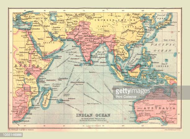 Map of the Indian Ocean, 1902. Showing the coast of East Africa, Arabia, the Indian subcontinent, the Far East and part of Australia. From The...