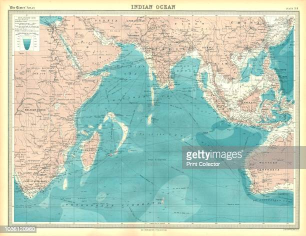 Map of the Indian Ocean. Map showing the Indian subcontinent, East Africa, the Arabian peninsula, Indo-China and Western Australia. Plate 54 from The...