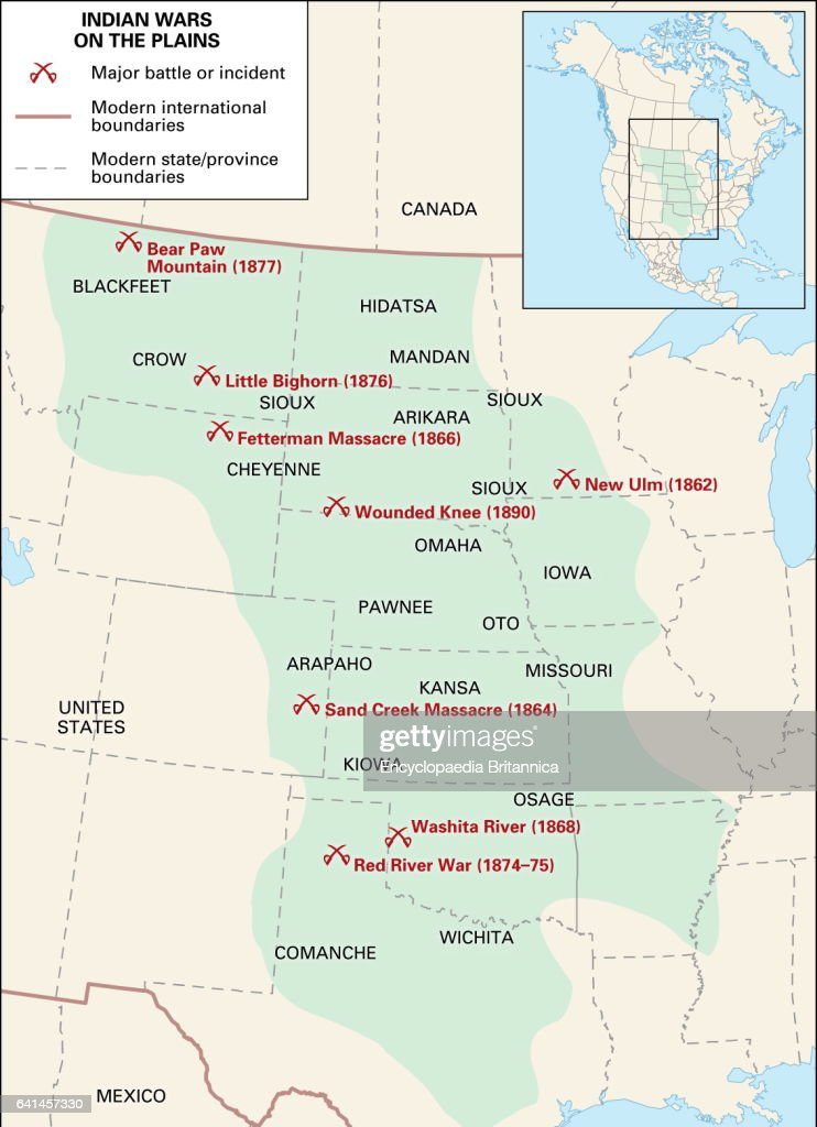 map of the Indian Wars on the Plains. Nachrichtenfoto ...