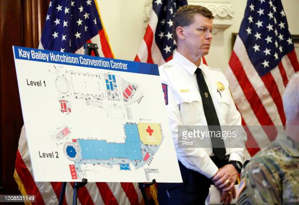 Map of the Kay Bailey Hutchison Convention Center is pictured as Texas Governor Greg Abbott announced the US Army Corps of Engineers and the state...