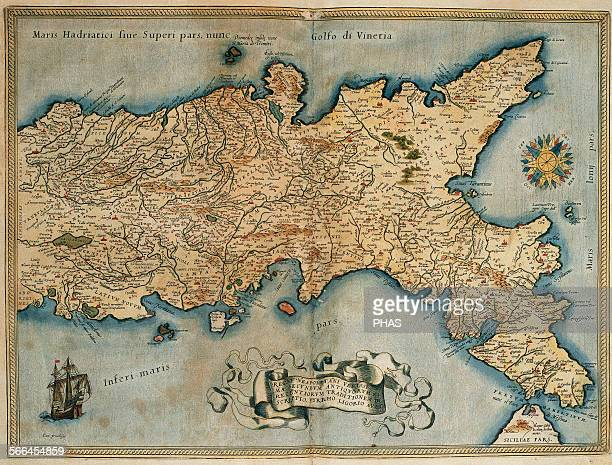 Map of the Kingdom of Naples Theatrum Orbis Terrarum by Abraham Ortelius First Edition Antwerp 1574 Library of Catalonia Barcelona Spain