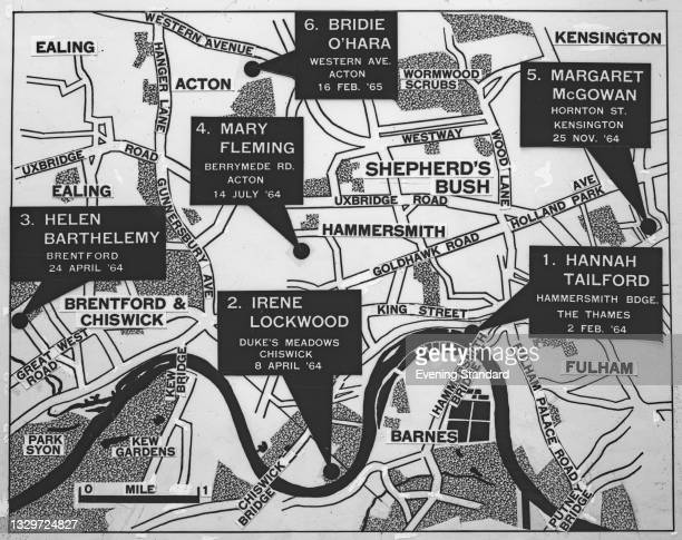 Map of the locations where the victims were discovered in the so-called 'Hammersmith Nude Murders', UK, February 1965. The bodies of six women, all...