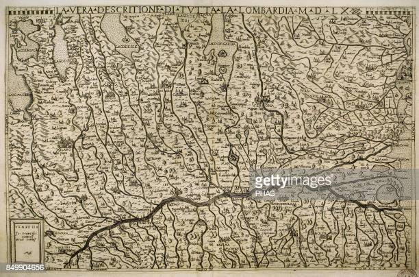 Map of the Lombardy region with the cities of Milan Verona Padua Mantua Parma Modena Bologne and Venice Italian engraving from the 16th century