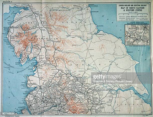 Map of the London Midland and Scottish Railway c1930 Map of North Eastern and Western centre of the London Midland and Scottish Railway