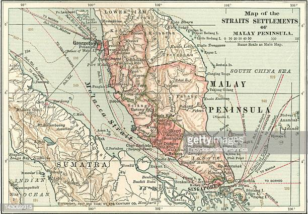Map Of The Malay Peninsula Map Showing Historical Boundaries Of The Malay Peninsula Sumatra And Singapore Circa 1902 From The 10Th Edition Of...