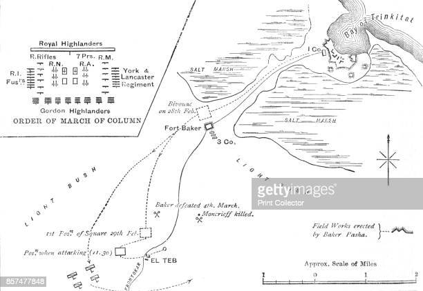 Map of the March to El Teb ' circa 1880 Episode of the Mahdist War From British Battles on Land and Sea Vol IV by James Grant [Cassell Petter Galpin...