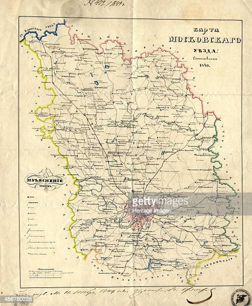 Map of the Moscow Governorate 1849 Artist Anonymous master