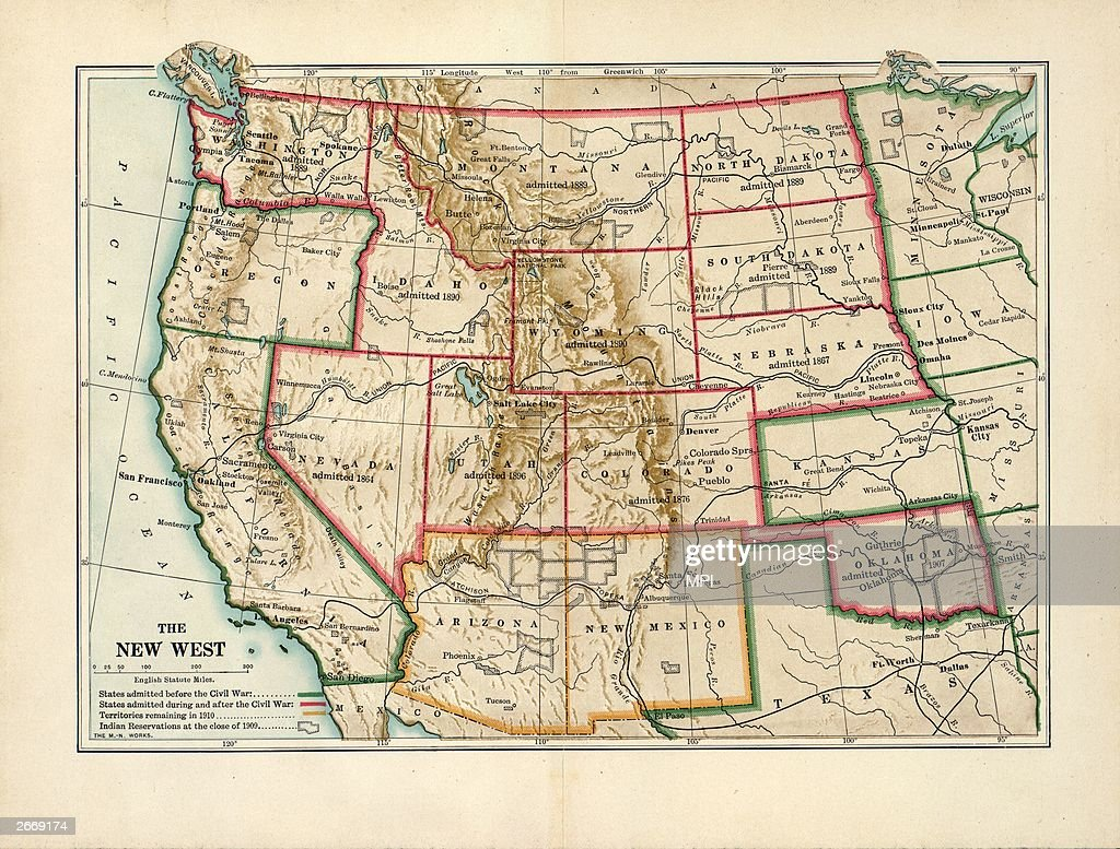 Map of the \'New West\' of the USA showing states admitted to ...