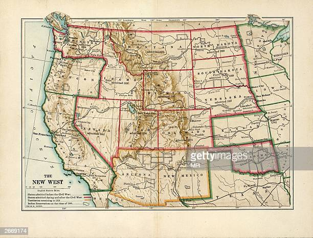 Map of the 'New West' of the USA showing states admitted to the Union before the Civil War and those admitted during and after