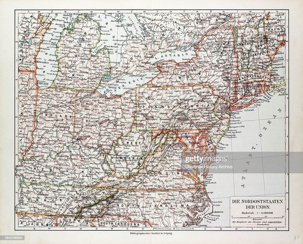 Picture of: Map Of The North East Of The United States Of America 1899 News Photo Getty Images