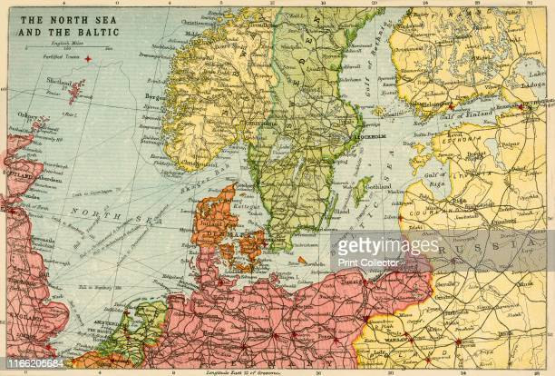 Map of the North Sea and the Baltic circa 1914 Northern Europe at the start of the First World War including parts of Norway Sweden Finland Russia...
