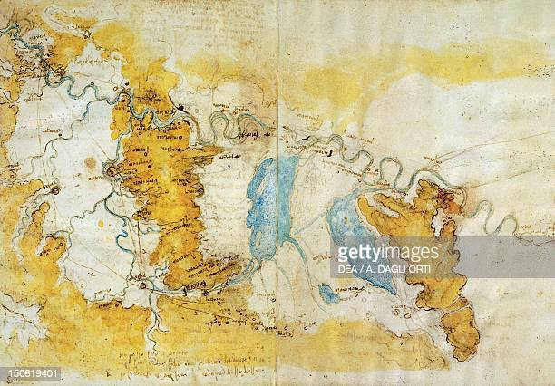 Map of the north-west of Tuscany from Florence to the sea with the line of projection for deviating the Arno through Prato, Pistoia and Serravalle,...