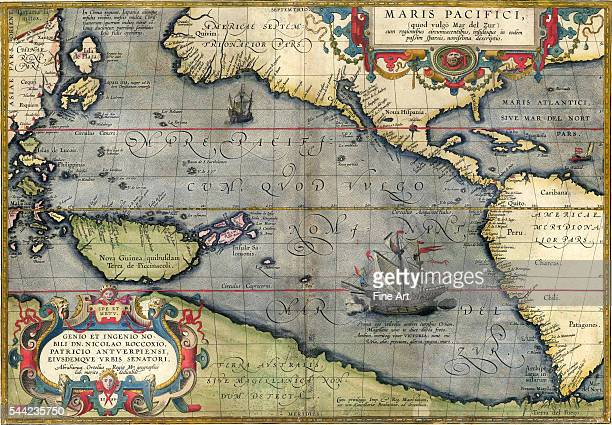 Map of the Pacific Ocean by Abraham Ortelius printed in Antwerp, first state, private collection.