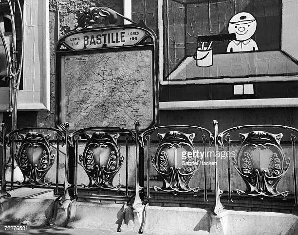 A map of the Paris metro at Bastille station circa 1950 In the foreground is an artnouveau entourage designed by Hector Guimard