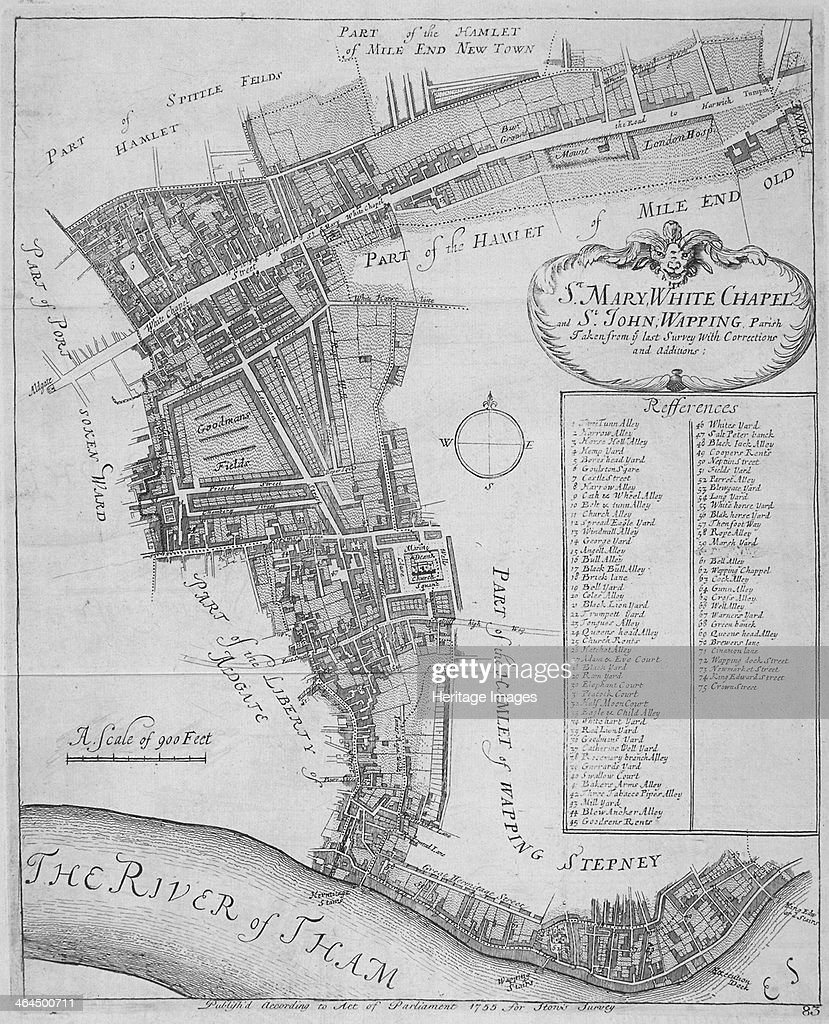 Map of the parishes of St Mary Whitechapel and St John Wapping in