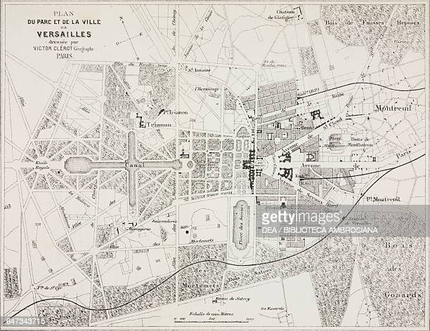 Map of the park and the city of Versailles from ParisGuide by leading writers and artists of France Volume 2 Life 1867