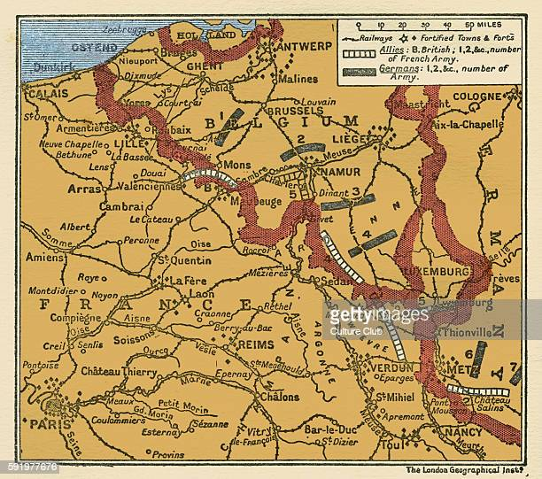 WWI Map of the position of the Armies August 22 1914 in Belgium and France shwoing German army divisions and British and French army divisions