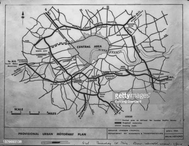 Map of the proposed GLC London Ringway system, London, UK, December 1965. Only parts of the ringway were completed - the West Cross and East Cross...