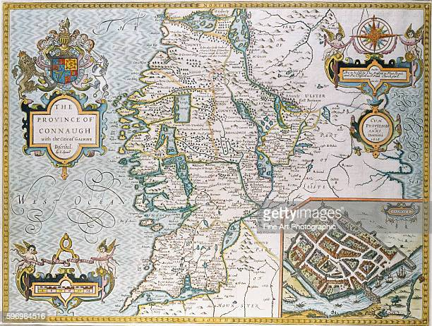 A map of the province of Connaugh with an inset of the city of Galway by Elizabethanera cartographer John Speede
