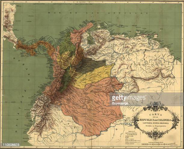 Map of the Republic of Colombia 1886 Illustration by Erhard Hermanos
