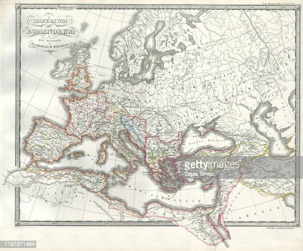 1850 Map of the Roman Empire as Divided into East and West Ancient Rome
