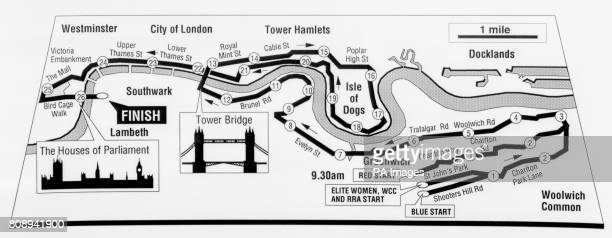 Map of the route for the 1990 ADT London Marathon The course snakes 26 miles and 385 yards through the Capital