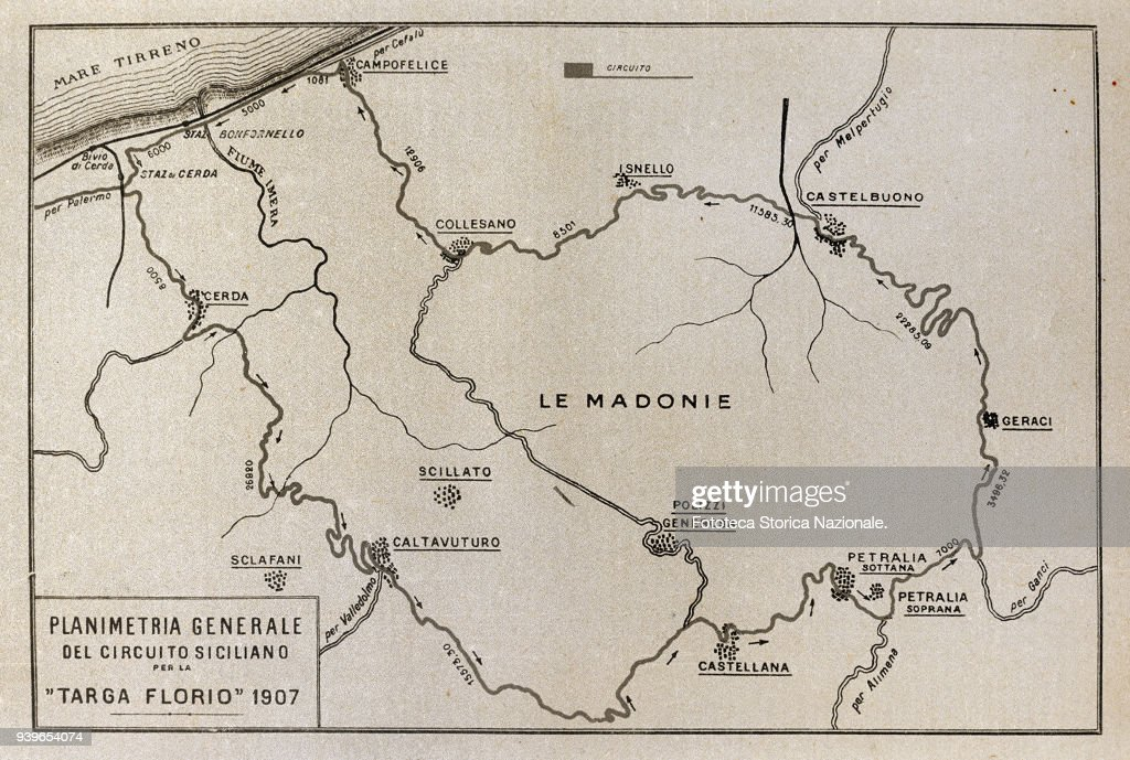 Map Australia 4074.Map Of The Second Targa Florio Trophy In 1907 The Grande Madonie