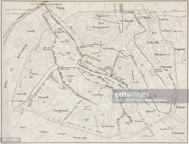 Map of the sewers of Paris engraving from ParisGuide by leading writers and artists of France Volume 2 Life 1867