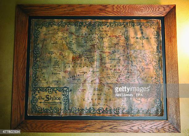 A map of the Shire is seen in the Green Dragon Inn at the Hobbiton Movie Set where Lord of the Rings and The Hobbit trilogies were filmed during the...