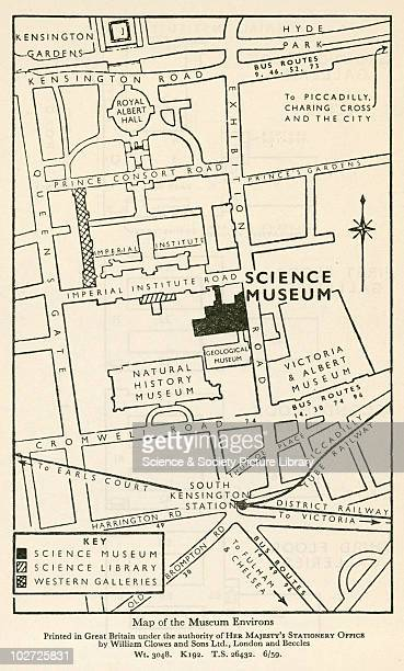 Map of the South Kensington museum area showing the Science Museum from the 1959 Outline Guide to the Exhibits Map of the South Kensington museum...