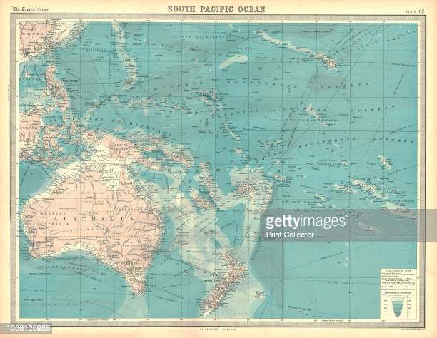 Map of the South Pacific Ocean Map showing the Philippines Indonesia Papua New Guinea Australia and New Zealand and Pacific islands Plate 102 from...