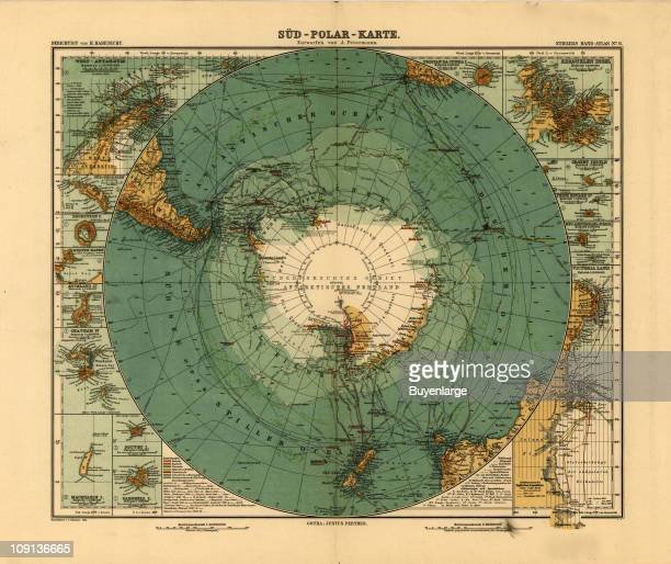 Map of the South Pole Antarctica illustration by A Petermann