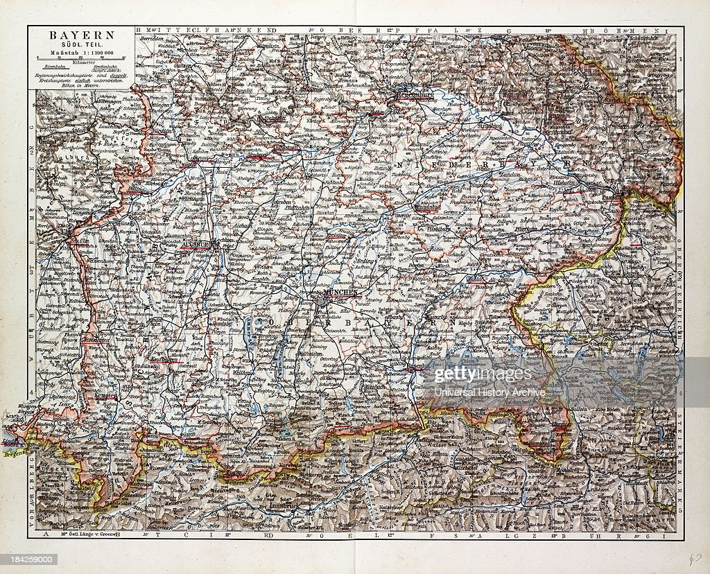 Map Of The Southern Part Of Bavaria, Germany, 1899 News ...