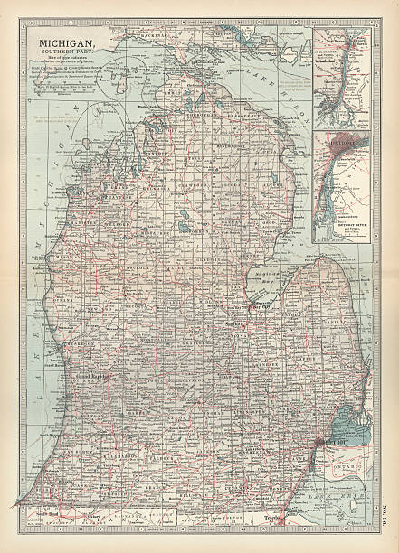 Map of the southern part of michigan pictures getty images map of the southern part of michigan publicscrutiny Image collections