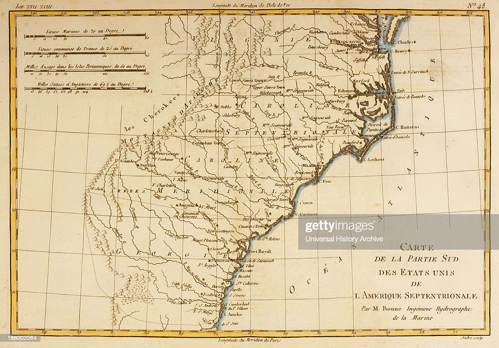 Map Of The Southern United States Of North America Circa 1760 ...
